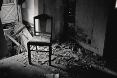 (Erin Watson/Abandoned Exploration) Tags: light shadow bw white house black abandoned home broken kitchen beauty farmhouse rural canon dark chair midwest alone quiet photographer sad floor decay empty country dirty falling nostalgia fallen memory fade urbanexploring urbex 2013 erinwatson erinwatsonphotography theresalwaysachair
