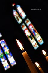 Before the battle (Saint-Exupery (ALMOST OFF UNTIL MONDAY)) Tags: leica france church candles iglesia francia velas vidrieras caminodesantiago aquitania saintjeanpieddeport stainglasses notredameduboutdupont