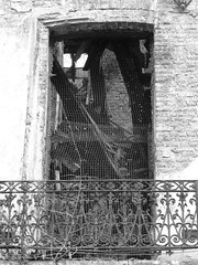 Roof beams in the window (seikinsou) Tags: roof brussels summer bw house abandoned belgium belgique balcony ruin bruxelles beam scandal dilapidated collapsing