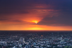 sunset. (Tanatat pongpibool) Tags: city travel sunset red thailand nikon cityscape bangkok traveller d800 citynight
