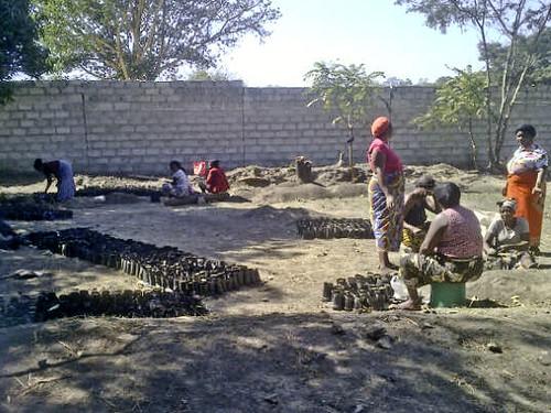 Zambia - Community Group Filling Poly Pots for Savannah Project (i), Mufulira Town -  July, 2013