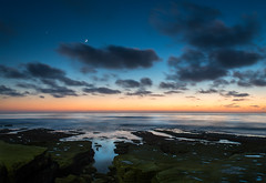 """Crescent Moon"" (Waldemar*) Tags: california sunset sky usa moon beach water clouds coast nikon rocks surf venus sandiego tide lajolla explore pacificocean coastline bluehour westcoast tidepools pacificcoast crescentmoon sosa explored leefilter nikkorafs1735mmf28d santaanaweather d800e"