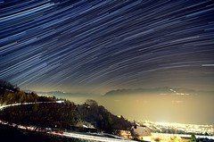 Star trails over Cully (MXW) Tags: light lake night stars star schweiz switzerland long exposure suisse geneva lac lausanne trail orion leman lman nuit stacked cully toiles toile lavaux grandvaux traine