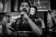 Msica e poesia (Inventor de Abismos) Tags: street brazil people bw black brasil riodejaneiro canon protest pb 5d poesia rua rap msica pretoebranco cinelndia microfone protesto cmaramunicipal fotostrpogmailcom