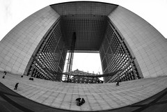 La Dfence Arch (SamLoz Photography) Tags: bw white fish black paris france eye art architecture blackwhite stair arch angle architectural fisheye arche dfence