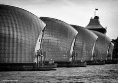 Thames Barrier (manxmaid2000) Tags: city uk england blackandwhite bw london water monochrome thames river mono flood barrier thamesbarrier