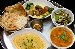 South Indian Fish Curry, Lamb Kebab, Dhal Soup, Organic Salad, Boulani, Garlic Pickle, Afghan and Basmati Rice from East is East ($28, Dine Out Vancouver) (qasic) Tags: food fish asian soup salad potatoes rice curry meat east lamb middle roti