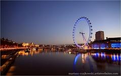 London Eye (M.CZAJKOWSKI-Art) Tags: uk england london thames architecture sunrise reflections river europe londoneye gb thamesriver wate