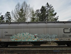 DABS, DCAE (YardJock) Tags: railroad graffiti spraypaint piece hopper freighttrain benching paintedsteel boxcarart benchreport