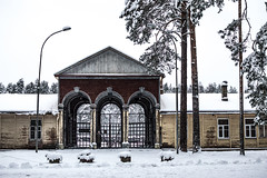Old ice rink (`TOMS`) Tags: latvia riga mezaparks train station house building old winter tree trees white snow nikon d3200 nikkor 35mm afsdxnikkor35mmf18g f18g f18 outdoor
