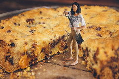 76/365 Digging that Cookie Cake (itskatrinayu) Tags: food cookie chocolate cake miniature conceptual borrowers manipulation indoor foodcoma