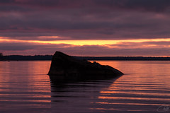 Sunset (tiina.harjunpaa) Tags: sun sunset red sky sea water ocean landscape nature mothernature stone trees clouds photography photo canon outdoor minimalism yellow