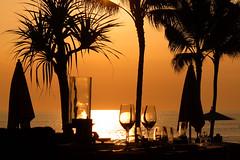 Sunset Dinner (Larterman) Tags: bali indonesia indonesian seasia southeastasia south east asia asian travel travelphotography travelphotos sunset beach sea silhouette palm tree