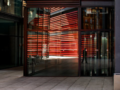 interlignes 42 (godelieve b) Tags: lines lignerouge redline reflection red shadow architecture abstract light patern madrid