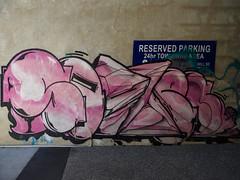 24 hr Tagging Area (Steve Taylor (Photography)) Tags: reservedparking 24hrtowingarea art graffiti mural tag streetart building carpark blue black pink concrete paint tarmac newzealand southisland nz canterbury christchurch cbd city curve