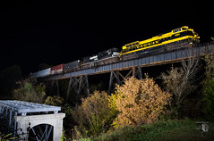 Lordy, lordy look who's forty! (Night Stalker Photo Works, LLC.) Tags: virginian norfolksouthern freightrailworks freighttrain overallva norfolkwestern nightstalkerphotoworks nighttime nsheritage vgn blacknyellow