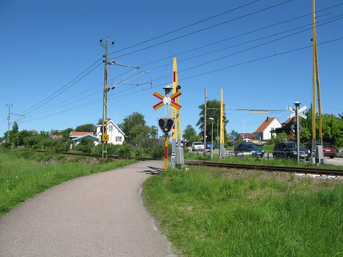 Järnvägskorsning, railway crossing, Torsbyvägen, Ytterby, 2011