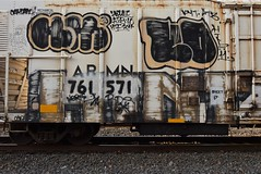 HOLMES KOSE HINT (TheGraffitiHunters) Tags: graffiti graff spray paint street art colorful freight train tracks benching benched kose throwie floater hint reefer holmes 2 letter