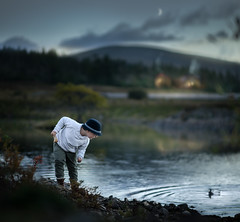 duck pond (iwona_podlasinska) Tags: pond duck night evening boy moon child