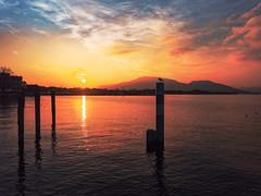 Iseo's sunset (Davide Zampatti) Tags: zuiko mzuikodigitalez1442mm13556 mzuiko olympus olympusitalia olympusart italy itali   italia italie   italien itaalia sebino lake lago lagodiseo iseo iseolake lombardia lombardy lombardie landscape colors tramonto sunset nightfall bright