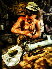 Jungle Repairs (Steve Taylor (Photography)) Tags: jungle hot heat screwdriver diagram cap barechested netting art digital replica mannequin table brown man men southisland newzealand nz canterbury christchurch shadow sunny sunshine airforce wigram museum repairing pliers tin