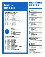 Manchester City vs Stoke City - 1974 - Back Cover Page (The Sky Strikers) Tags: manchester city stoke maine road 50 years football league first division match magazine 10p