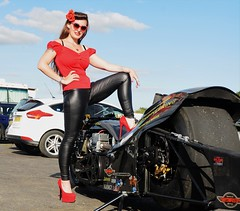 Holly_9800 (Fast an' Bulbous) Tags: top fuel bike motorcycle nitro fast speed power santa pod pits race track strip drag santapod girl woman biker chick babe long brunette hair red shoes stilettos high heels leather pvc jeans leggings beauty model pinup outdoor people
