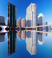 Detroit reflection (hz536n/George Thomas) Tags: 2014 canon5d ef1740mmf4lusm winter detroit february sky city cityscape reflection copyright cs5