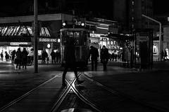 the x factor / night in Taksim (Özgür Gürgey) Tags: 2016 50mm bw d750 nikon taksim x evening lines lowlight rails silhouette street istanbul turkey