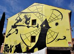 Don Quijote (collage42 Pia-Vittoria//) Tags: murales spagna spain alcaldehenares migueldecervantes donquijote streetart giallo yellow nikond90