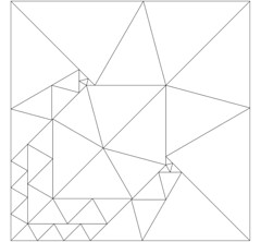 Lew Baxter's 50 triangle solution to dissecting a square into 45-60-75 degree triangles (jbuddenh) Tags: tiling triangles 45°60°75° lewbaxter similar similartriangles square 50similartriangles geometry math mathematics