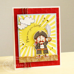 TSG212 -- How arrrr you doing? (Torico27) Tags: red summer cloud sun beach sunshine yellow clouds cards sand handmade pirates card pirate captain echopark kraft hemp pti emboss embossing tsg tsg212