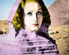 Visions of Garbo as the Sphinx (Walker Dukes) Tags: california pink blue red sky orange woman black beautiful television yellow sepia photoshop gold screenshot glamour eyes sand nikon rocks shadows purple desert pyramid egypt magenta violet lips photograph hollywood blonde actress mysterious movies actor diva tcm turnerclassicmovies recolored nikoncoo