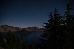 Wizard Island with big dipper -- Crater Lake National Park (Phil Chen (agfachen)) Tags: park trees lake nature night stars woods scenic national crater craterlakenationalpark