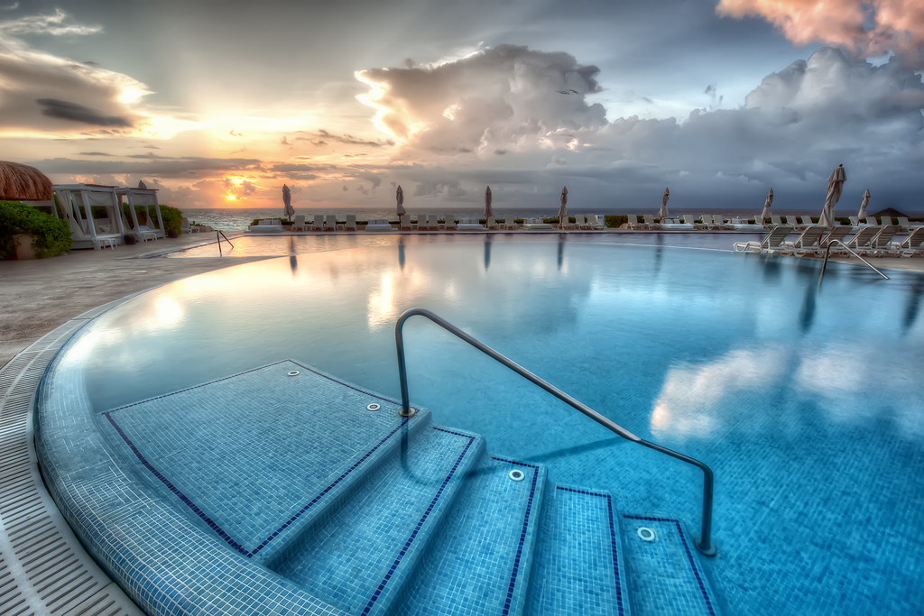 A frame from this morning's colorful sunrise at the Live Aqua hotel in Cancun.