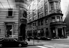 Look at Street from a Cafe in Downtown Manhattan #Flickr12Days (Grace (Bingyan S)) Tags: street nyc blackandwhite reflection building a