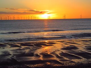 Skegness Sunrise , Over the North Sea Wind Farm
