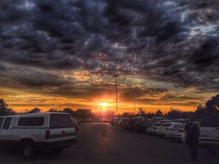 Parking lot sunset (MacSmiley) Tags: sunset parkinglot sundown carpark handyphoto iphone5 iphoneography snapseed hdrscape