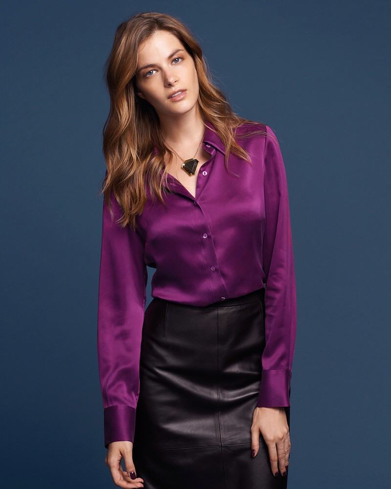 045b8c7fa0d03 Purple satin button up shirt  amp  black leather skirt (ejt1977) Tags  black