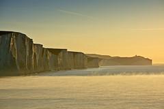 The Seven Sisters from Cuckmere Haven, Sussex (Simon Verrall) Tags: november sea sky lighthouse mist seascape water sunrise landscape dawn sussex chalk cliffs sevensisters beachyhead seamist cuckmerehaven 2013 rivercuckmere belltout