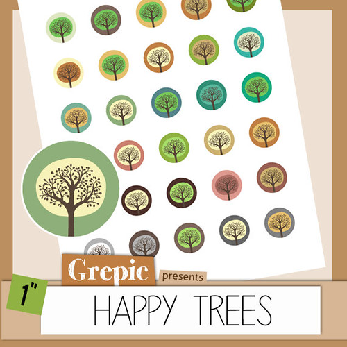 Digital collage sheet trees: HAPPY TREES 1 inch circles forest forpendants, bottle caps, nature paper craft