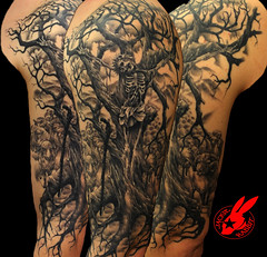 Healed Jesus Tree Sleeve Tattoo by Jackie Rabbit (Jackie rabbit Tattoos) Tags: california ca dog flower color tree sexy rabbit bird beautiful tattoo vintage nude skeleton skull star 3d jackie colorful artist heart good shepherd infinity jesus feather tribal best va anchor chico ram tat sleeve treebranches treeroots jesuschrist realistic crucified goodshepherd creepytree eyeofjade