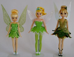 Three Tinker Bells - 2014 Classic 10'', 2004 Mattel 11'' and 2014 Designer 11'' Dolls -  Standing Side by Side - Full Front View (drj1828) Tags: 2004 standing us doll tinkerbell fairy comparison sidebyside purchase mattel disneystore 2014 posable 10inch 11inch disneyfairies deboxed flutterwings 1112inch disneyfairytaledesignercollection disneyfairiesclassicdollcollection