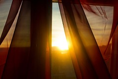 Rise (shelly.christina) Tags: lighting morning light sunset red sun sunshine sunrise dawn morninglight early shine fabric curtains glowing transparent gossamer shining sheer