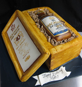 Liquor Bottle Case Cake med