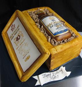 Liquor Bottle Case Cake med