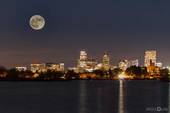 Supermoon Denver Skyline (Native5280) Tags: supermoon2016 moon moonrise skyline lake denver sloanslake longexposure doubleexposure milehighcity coloradonative colorado canon 70d canonef100400mmƒ4556lisiiusm sirui k20x w1204 citylights waterfront fstopgear