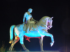Coventry, Sept 2016: Lady Godiva, Shades of Grey (roger.w800) Tags: coventry warwickshire westmidlands wmidlands statue coventrystatue equestrianstatue godivalady godivanighnightshotafter darkcoloured lightlight effects