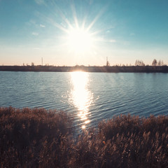 Albedo (andrey.senov) Tags: russia kostroma province autumn fall sky sun sunlight water river kostromariver reflection weed grass             fujifilm fuji xa1 fujifilmxa1 squareformat 11 1x1 35faves