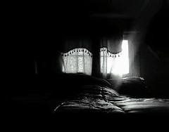 Analog Repose/Clarity ~ (K.Chris ~AlwaYs LeaRning~) Tags: light shadow blackandwhite monochrome monochromatic bed rest repose windows glass bedroom